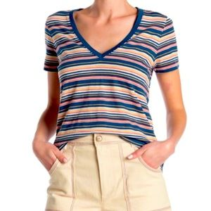 Madewell frisbee striped V-Neck top